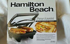 hamilton beach 25460a panini press gourmet sandwich maker ebay. Black Bedroom Furniture Sets. Home Design Ideas