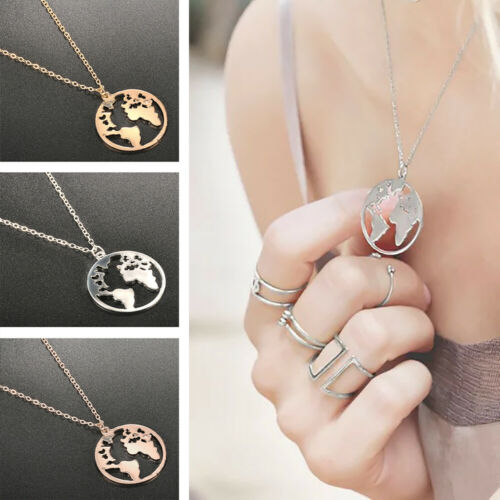 World Map Pendant Necklace Hollow Charm Collar Womens Fashion Travel Jewelry Hot