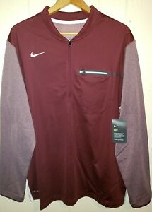 Marron Zip Nike Athletic fit 2 pour Baselayer 1 Pullover XL Homme Dri x4YqPnX