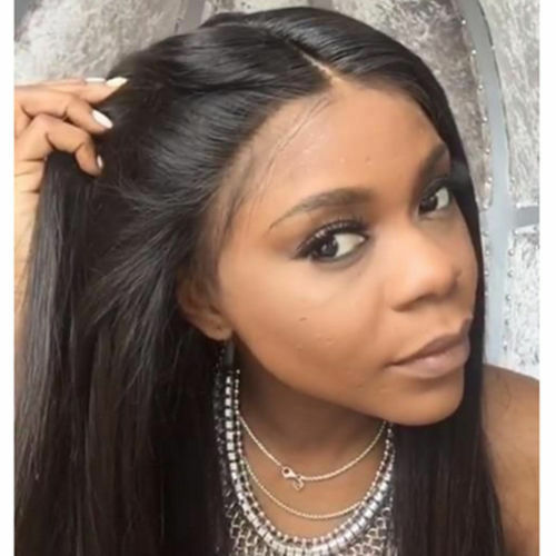 Glueless Brazilian Human Hair Lace Front Wig Full Lace Wigs silky straight