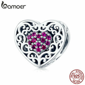 BAMOER-Genuine-S925-Sterling-silver-Charm-European-Love-amp-CZ-For-Women-Jewelry