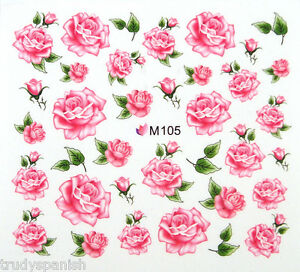 Nail Art Stickers Nail Water Decals Nail Transfers Pink Flowers Floral Roses 105 Ebay