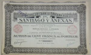 Compagnie-Data-mining-Santiago-y-Anexas-azione-di-100-franchi-1925