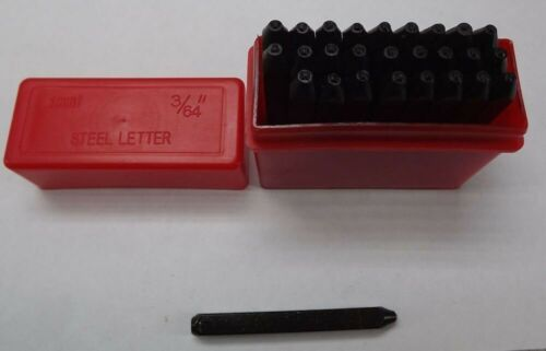 "1.5MM CAPITAL LETTER Punch Stamp Set Metal-Steel 3//64/"" 27 PIECE NEW PLASTIC CASE"