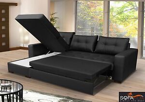 Details about Brand New Corner sofa bed with storage Top quality Black Faux  Leather