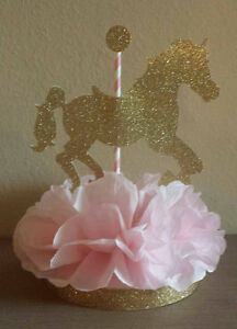 Carousel Horse Pink Gold Centerpiece Birthday Party Baby Shower