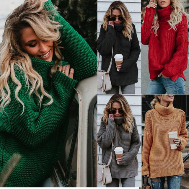 Women Turtleneck Winter Tops Chunky Knitwear Oversized Sweater Jumper Top Blouse
