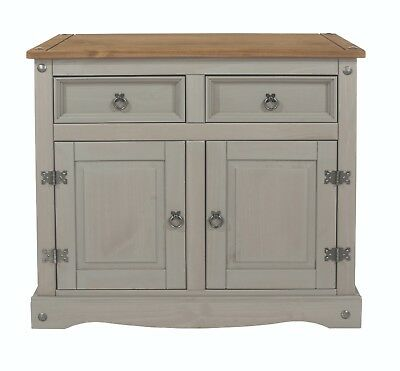 Premium Corona Grey Washed Medium Sideboard Dresser Solid Pine /& Dovetail Joints
