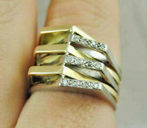 VINTAGE-18CT-YELLOW-amp-WHITE-GOLD-STATEMENT-RING-DATED-1979-SIZE-V