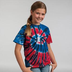 COLORTONE-Kids-Rainbow-mano-Tinto-Tie-Dye-Maniche-Corte-Colorata-T-Shirt-Nuovo
