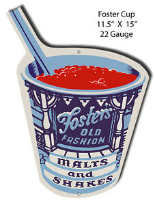 Fosters Freeze Laser Cut Out Metal Sign 10x14.5