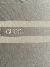 "GUCCI LOGO RARE BLANKET, THROW $1350 GREY 100%WOOL  REVERSIBLE 78.0"" X 54.0"""