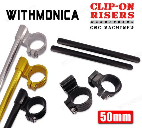 """50mm CNC Raised 1/"""" Clip-Ons Handlebars For Honda CBR1000RR 2004-2014 New 05 06"""