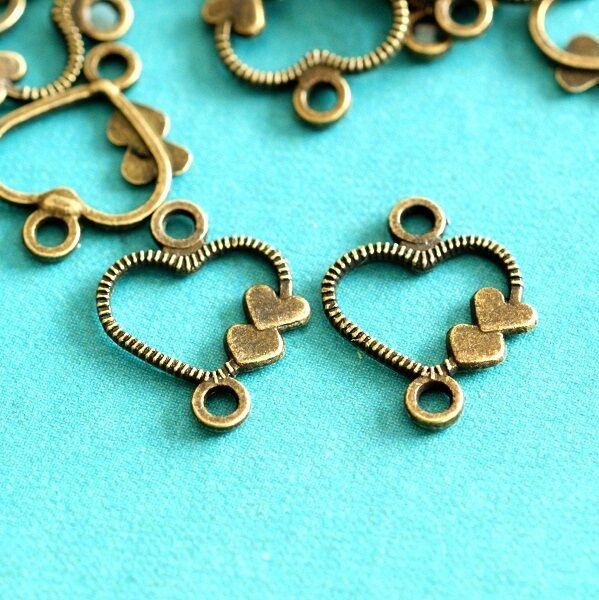 Sale Lead Free 48pcs Antique Bronze Double Heart Connecters A100401-AB-LF