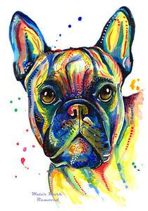 French-Bulldog-art-print-painting-Bull-Dog-Birthday-Gifts-Frenchie-Size-Option