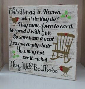 Christmas In Heaven.Details About Christmas In Heaven What Do They Do Christmas Remembrance Block Xmas Decor