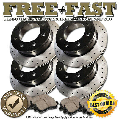 FRONT SET Z0741 Performance Cross Drilled Brake Rotors /& Ceramic Pads