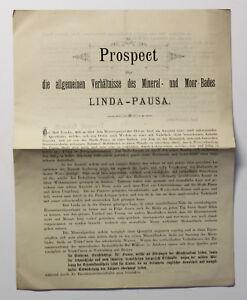 Original-Prospekt-Mineral-und-Moorbad-Linda-Pausa-um-1885-Sachsen-Vogtland-xz