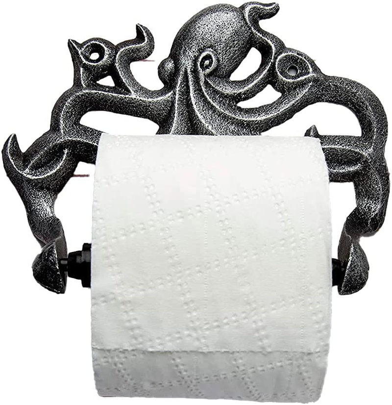 Decorative Cast Iron Octopus Toilet Paper Roll Holder – Wall Mounted Octopus Déc