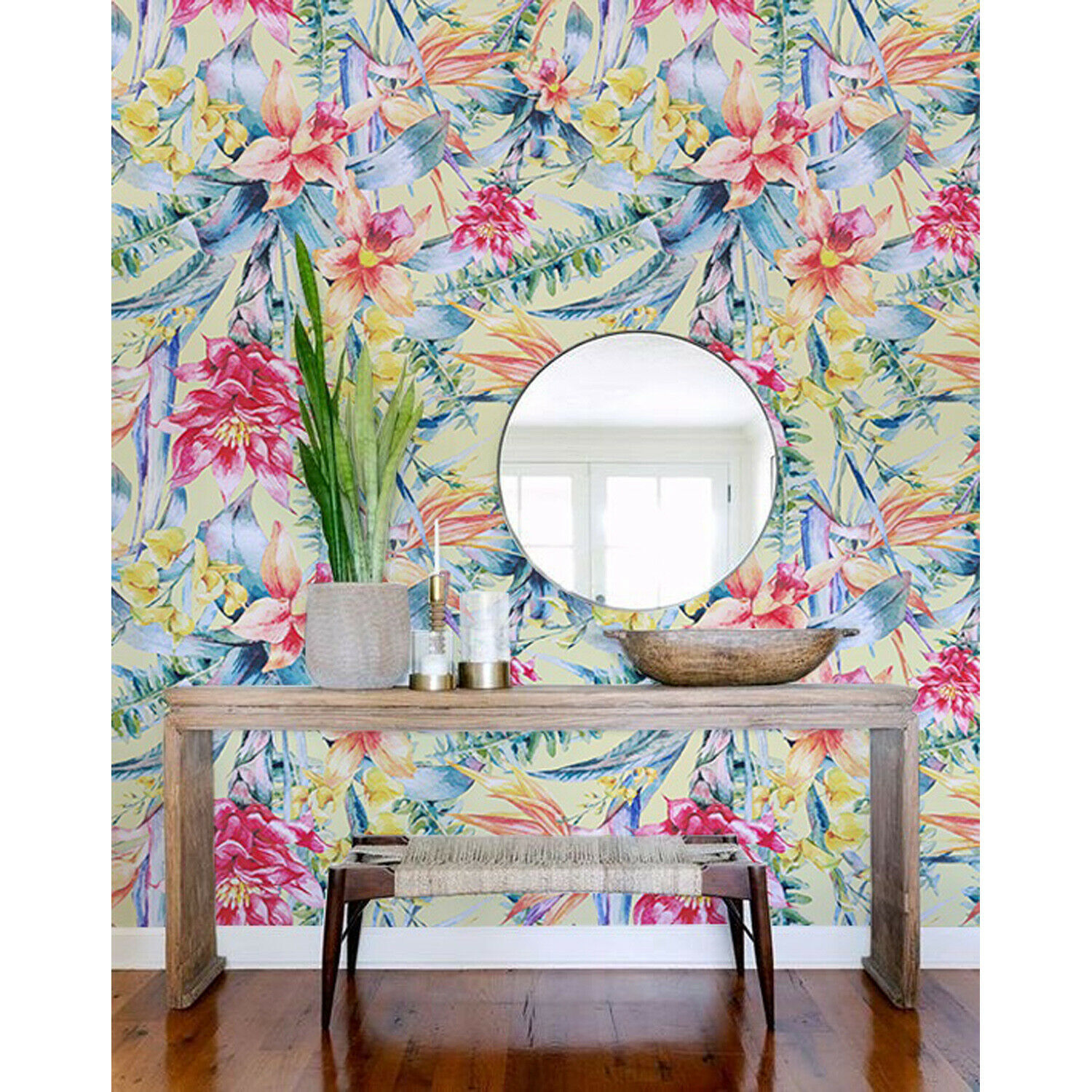 Removable wallpaper Tropical Flowers Self adhesive Tropical Floral Wall Mural