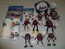 VINTAGE CALIFORNIA RAISINS LOT WIND-UP BENDABLE HAT CUPS STICKERS BOOK EARMUFFS