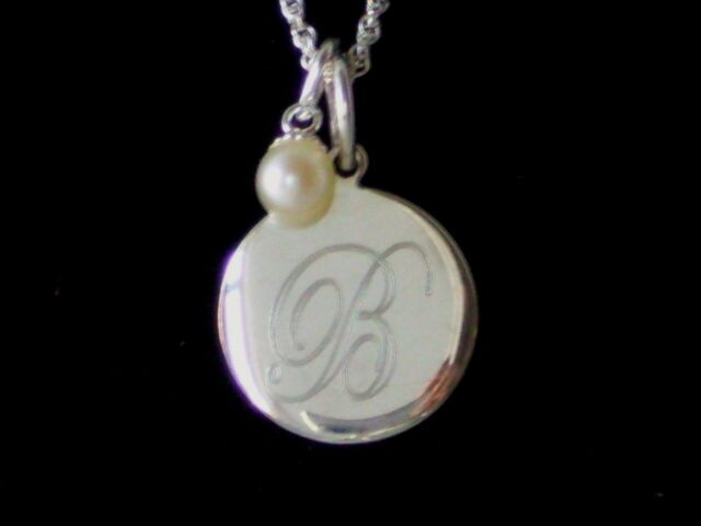 925 Sterling Silver Engravable Pendant Genuine Cultured Pearl Necklace
