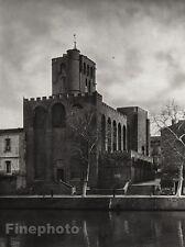 1927 Vintage FRANCE Agde Cathedral River Monument Architecture Photo ~ HURLIMANN