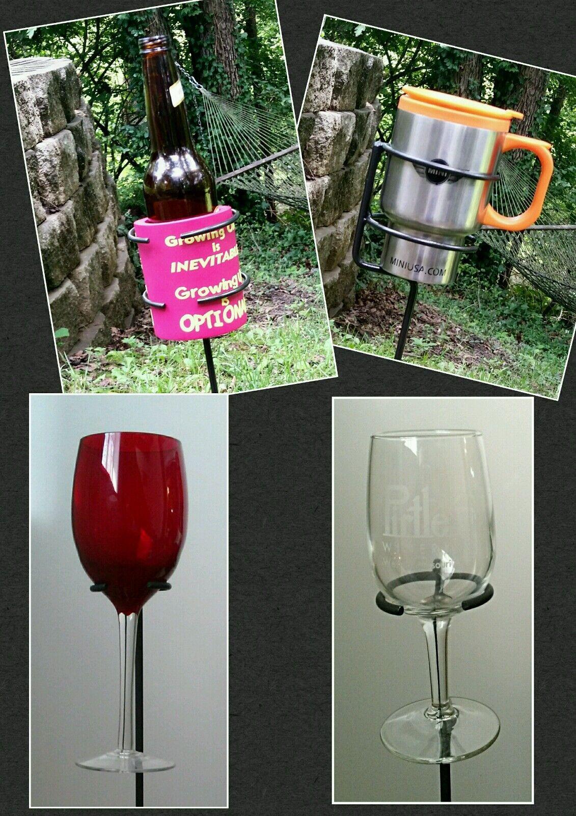 2 Copita al aire libre y 2 Universal Sostenedor de taza (cerveza, taza o taza) Herrero Hecho