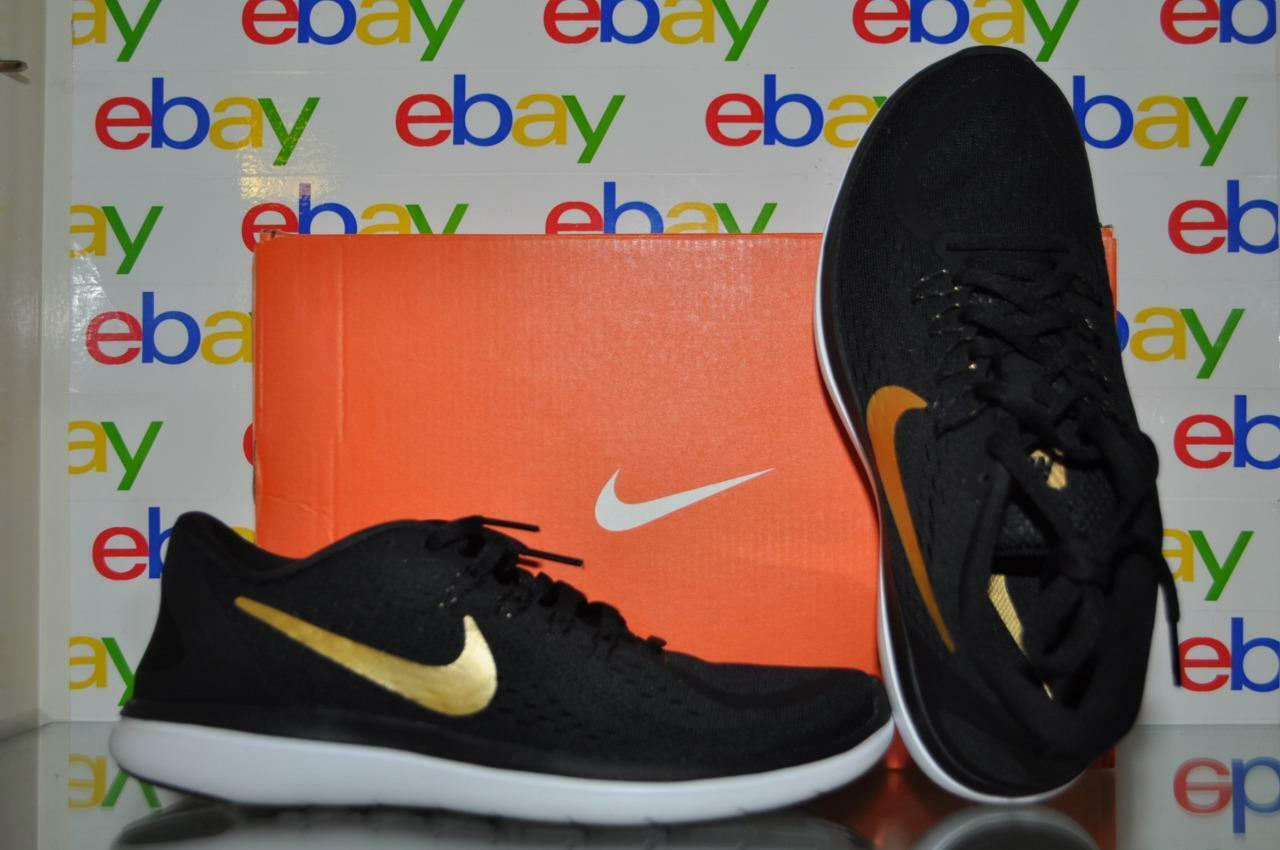 Nike Mens Flex 2017 RN Black gold Running shoes 898457 011 NIB Size 7.5