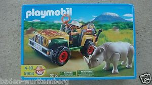 playmobil 5904 safari series jeep with rhino brand new in. Black Bedroom Furniture Sets. Home Design Ideas