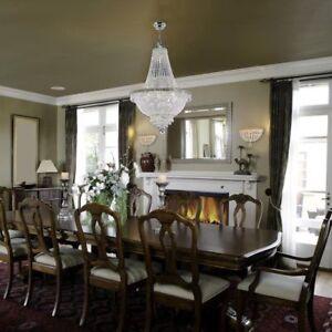9 LIGHT CHROME EMPIRE FLUSH MOUNT CRYSTAL CHANDELIER LIVING DINING FOYER BEDROOM