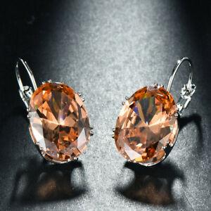 Woman-Huge-Oval-Honey-Champagne-Topaz-Gemstone-Silver-Woman-Dangle-Hook-Earrings