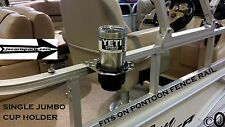 Diamond Plate 1 JUMBO Cup Holder Fits 1 1/4 Inch Pontoon Boat Rail Holds A Yeti
