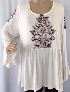 Top-2X-Plus-Eyeshadow-49-NWT-Cream-Ivory-Boho-Tunic-Peasant-Embroidery-MC365