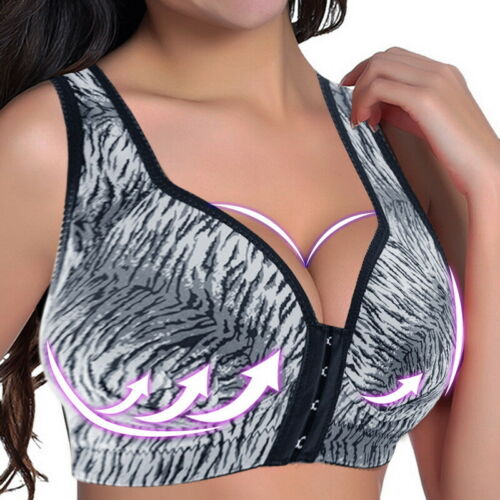 Women Wireless Padded Sports Bra Front Closure Yoga Cami Push Up Support Tops~