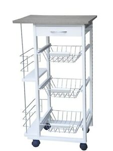 White Wood Extended 3 Tier Kitchen Trolley Cart With Storage Drawer And Baskets Ebay