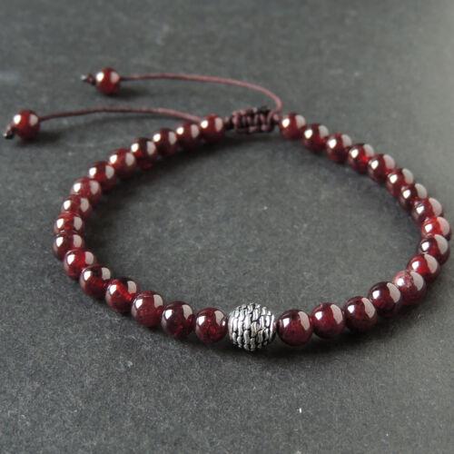 Men/'s Women Braided Bracelet 5.5mm Garnet 925 Sterling Silver Round Bead 1016