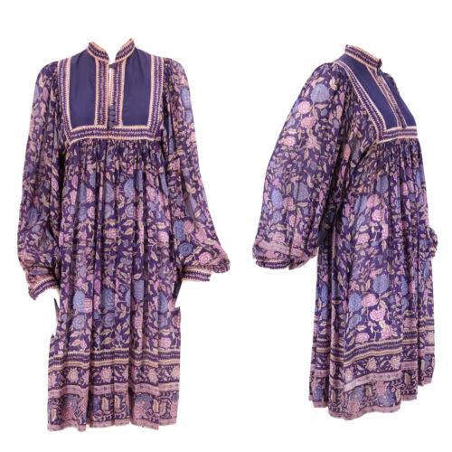 vintage 70s India PHOOL sheer silk purple print pe