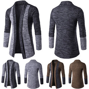 Details about Mens Slim Fit Knitted Cardigan Sweater Long Sleeve Casual Jacket Coat Knitwear