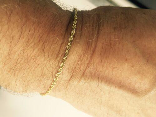 "018RR 10k Solid Yellow Gold Diamond Cut Rope Chain Bracelet 9/"" 2.5 mm 2.8 gr"