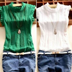 Sexy-Women-Girls-Summer-Casual-Blouse-Tops-Ruffle-Sleeve-Solid-Shirt-Vest-Blouse