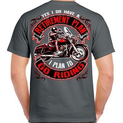 Retirement Plan To Go Riding Motorcycle Shirts Mens Black Biker Life T-Shirt
