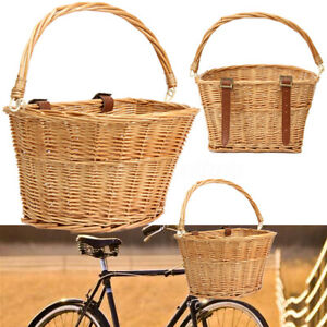 Trendy-Style-Brown-Willow-Wicker-Bicycle-Bike-Front-Basket-Straps-Pet-Fruit-Shop