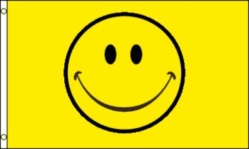 """/""""HAPPY FACE/"""" Flag 2x3 ft polyester yellow"""