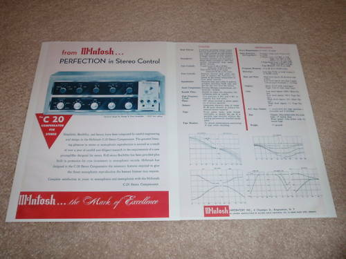 2 pgs,Info Rare Ad McIntosh C 20 Preamp Ad,1955