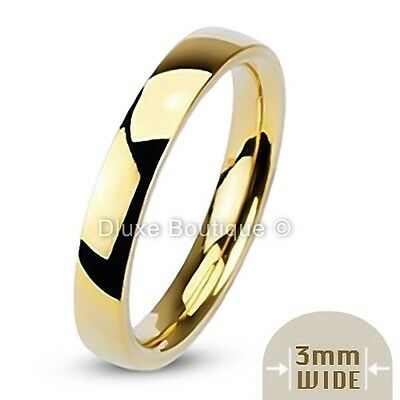 3mm Wide 14k Gold Plated Classic Comfort Fit Wedding Ring Band Size 4-7