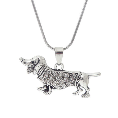 Colorful crystal puppy sausage dog Dachshund necklace pendant charm HOT