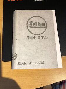 Instruction manual typewriter erika model 5 and 5 tab