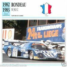 RONDEAU M 382 C 1982 1983 CAR VOITURE FRANCE CARTE CARD FICHE