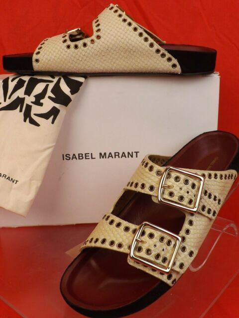 0d18e353e2b2 NIB ISABEL MARANT LENNY WHITE LEATHER SNAKE GROMMET BUCKLES FLAT SANDALS 39